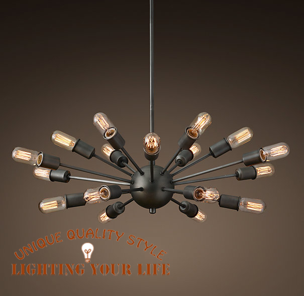 Vintage Large Sputnik Pendant Lights 18 Lamp Lobby Hanging Stick Mid Century Lamps Edison Bulb