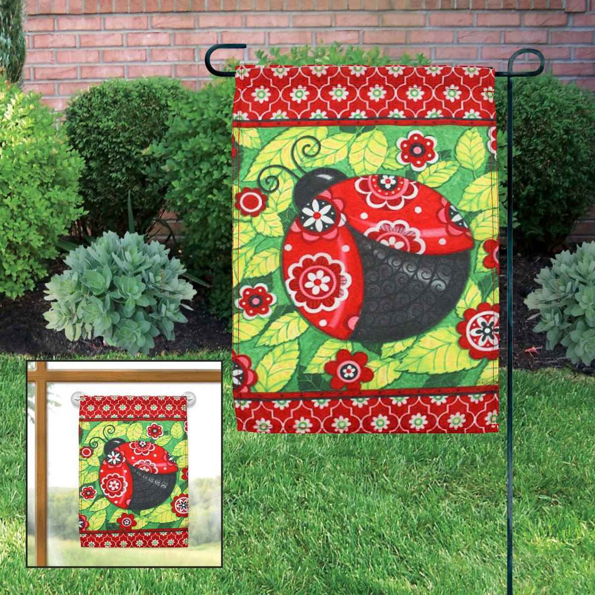 Garden flag red ladybugs leaf classic indoor outdoor home for Indoor christmas decorations sale