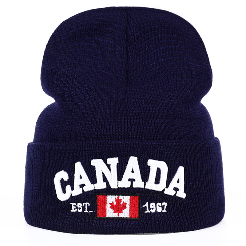 TUNICA  New Autumn Winter Knitted Hats For Men Women Canada Letter Embroidery Cotton Caps Autumn Hat Casual Boy Cap Men Hats