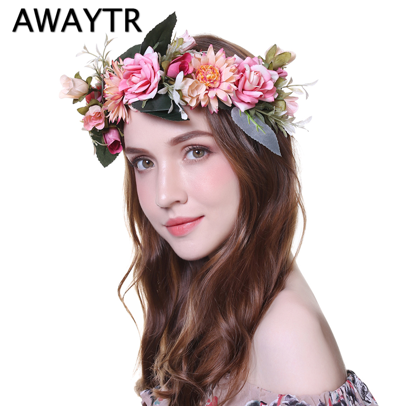 21aa9ce50c4 AWAYTR 2019 Fashion Wedding Bezel Wreath Flower Headband for Women Floral  Head Band Spring Festival Photo