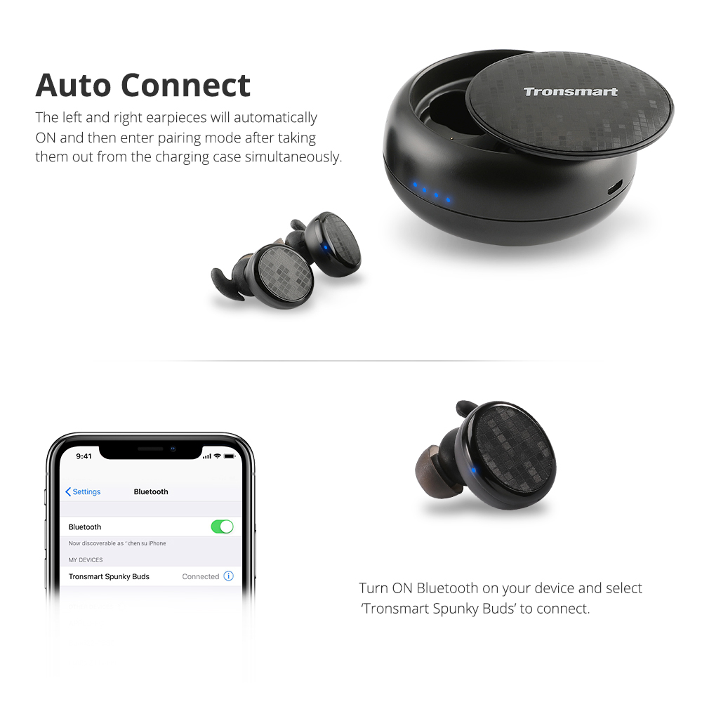 Tronsmart Spunky Buds Wireless Headphones Bluetooth 5.0 True Wireless Stereo Earbuds IPX5 Headphones with Mic for Phones 1
