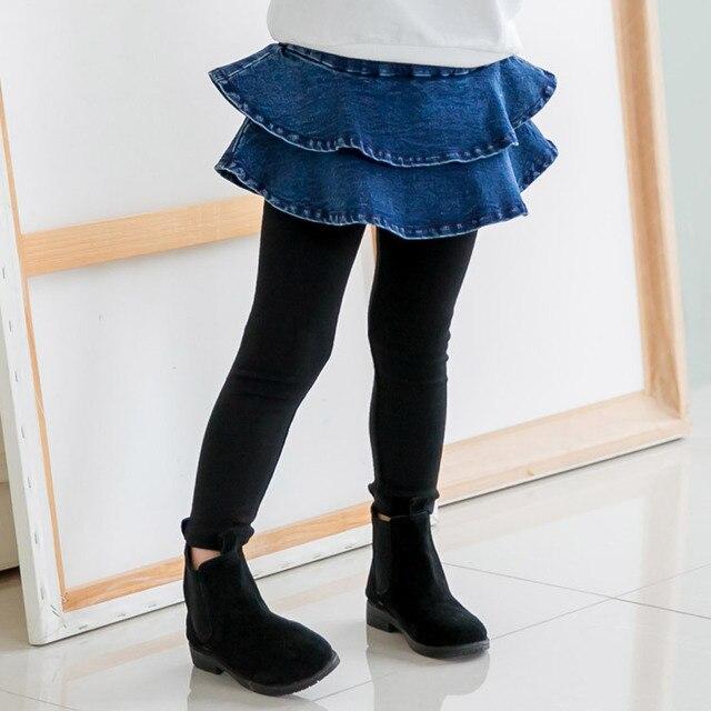 18e0251afb79 2017 New Arrival Baby Girls Pants Spring Autumn Jeans Toddler Girl Ruffles  Denim Skirt Pants School Kids Legging Trousers