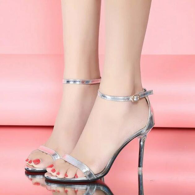 New 2018 women sandals high quality buckle strap open toe women shoes sexy high heels 9 gold silver women pumps bronze silver gold buckles shoes slippers sandals shoes strap laces clothing bag 8mm belts buckle clip 500pcs lot free shipping