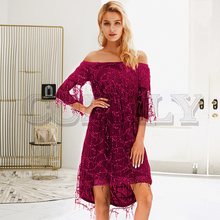 CUERLY Sexy tassel sequined women dress Off shoulder lining mesh autumn dresses Club party shiny christmas ladies vestidos 2019