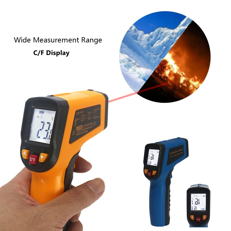 Digital IR Infrared Thermometer -50~600C -50~400C Pyrometer Laser Non-contact Temperature Meter Termometro LCD Display 50 600c 50 400c handheld non contact ir infrared thermometer digital lcd laser pyrometer temperature meter with backlight
