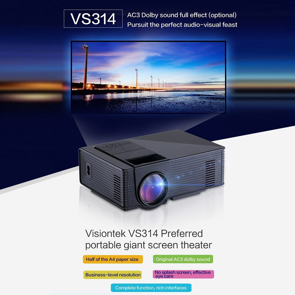 VS314 Clear Mini Projector 1500 Lumens 800 X 480 Pixel Home Theater Media Player Supports 1080P AV HDMI VGA