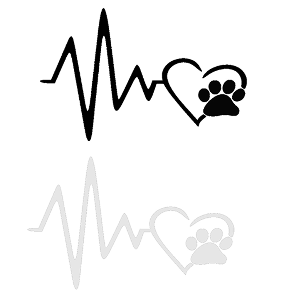 Cute Dog Paw With Peach Heart And Heartbeat Car Sticker