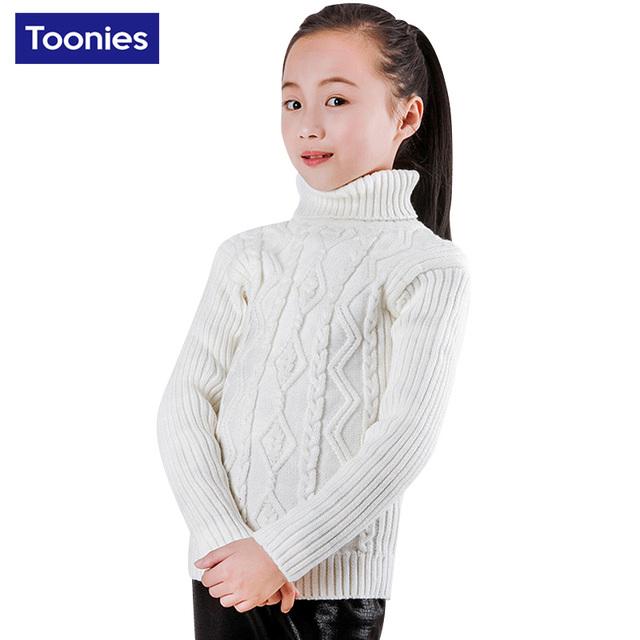 2017 Baby Girl Boy Ropa de Cuello Alto Suéter Caliente Niños Toddler Kids Cuello Alto Otoño Invierno Pullover Knit Warm Top 7 Color