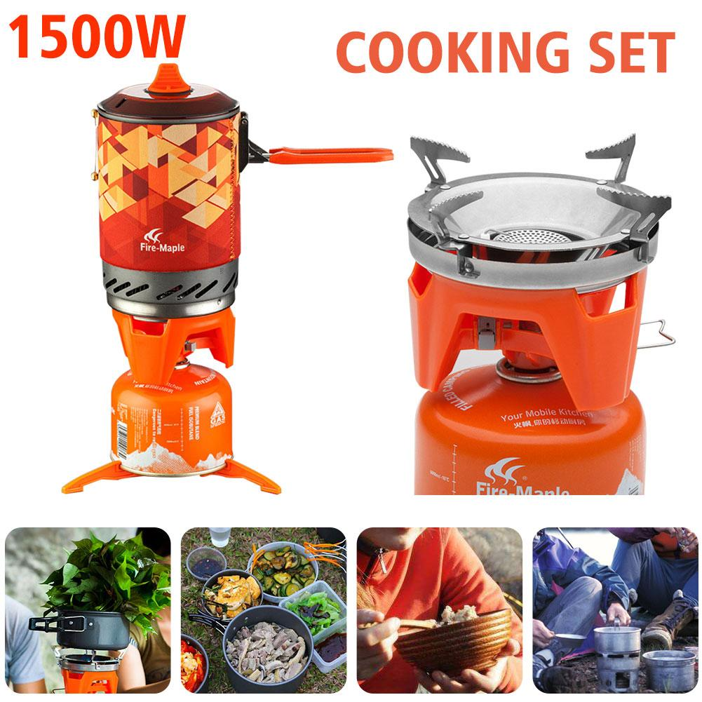 цены на 1 Cookware Set Outdoor Stove Oven Cooking Hiking Kitchen Camping Cooker Portable Propane Gas Stove Burner Adapter
