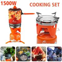 1 Cookware Set Outdoor Stove Oven Cooking Hiking Kitchen Camping Cooker Portable Propane Gas Stove Burner Adapter