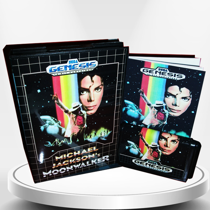 Michael Jacksons Moonwalker US Cover with Box and Manual for MD MegaDrive Genesis Video Game Console 16 bit MD card