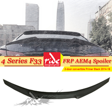 Fits For BMW F33 Rear Trunk Spoiler Wing AEM4 Style FRP Unpainted Black 4-Series 428i 430i 435 440ixDrive Gran Coupe 2014-18