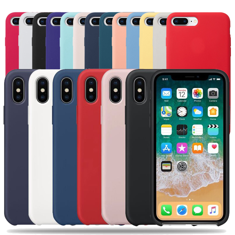 Original Have LOGO Silicone Phone Case For Iphone 6 8 7 Plus For Iphone X XR XS Max Soft Cover For Iphone 6S 5 SE 5S Shell