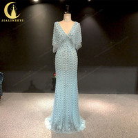 JIALINZEYI Real Sample Light Green Cape V Neck Full Hand beads Mermaid Fromal dress Party Mother Dress Evening Dresses