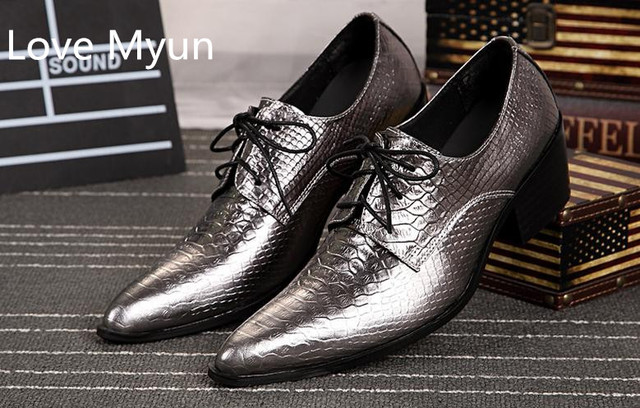 Golden Silver Luxury Mens Wedding Dress Shoes Men Pointed Toe High Heel Design Career Work