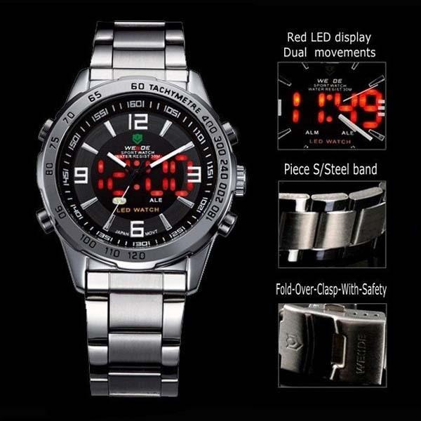 2018 New Watches Men Luxury Brand Weide Full Steel Quartz Clock Led Digital Military  Watch Sport Wristwatch Relogio Masculino