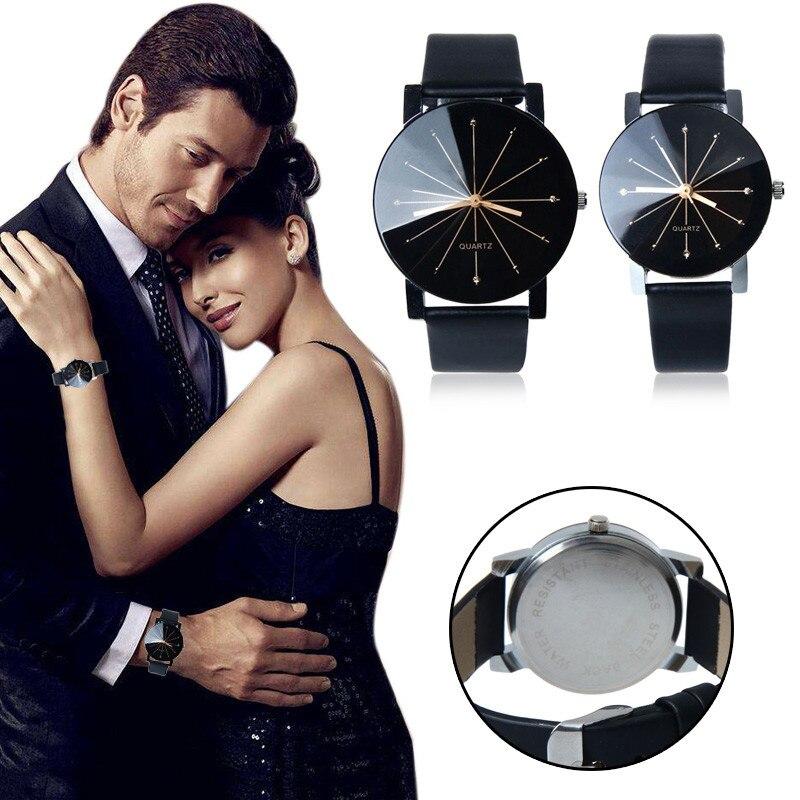 1Pair Men and Women Quartz Dial Clock Leather Wrist Watch Round Case Couple Watch Men Women Quartz Wrist Watch Clock Gift