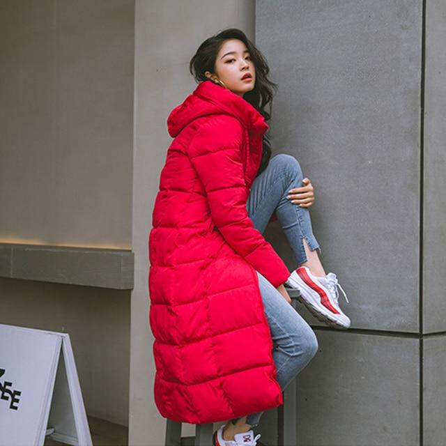 2019 Hiver femmes veste x-long à capuche coton rembourré Femme Manteau haute qualité vêtements d'extérieur chauds femmes Parka Manteau Femme Hiver 3