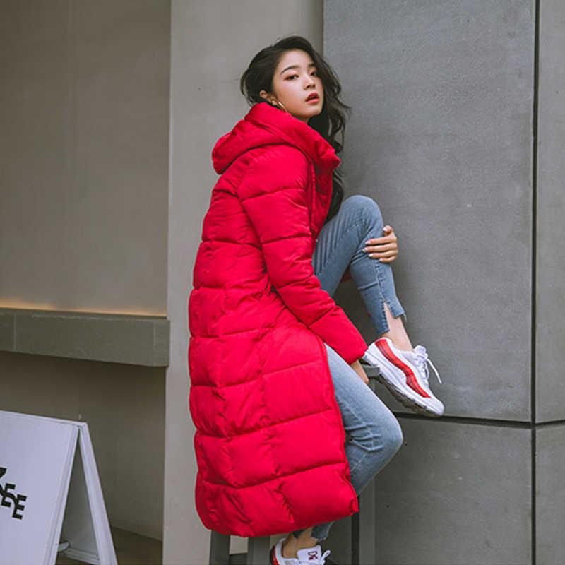 2019 inverno feminino jaqueta x-long com capuz de algodão acolchoado casaco feminino de alta qualidade quente outwear das mulheres parka manteau femme hiver