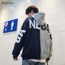 Hoodies Men Hooded Plus Velvet Leisure Letter Printed Sweatshirts Mens Patchwork Korean Style Ulzzang Trendy Students Pullovers 6
