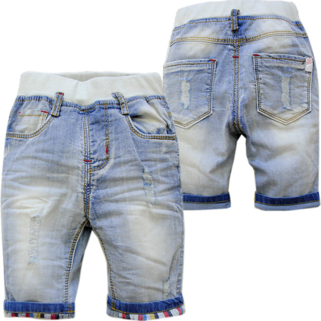 4030 baby summer shorts  hole soft denim jeans pants baby boys shorts calf-length 70% length baby jeans kids  cool  0-4 years