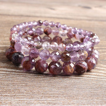 Ling Xiang 6/8/10mm natural jewelry faceted Purple ghost stones loose beads Bracelet Charms Yoga men and Women meditation amulet