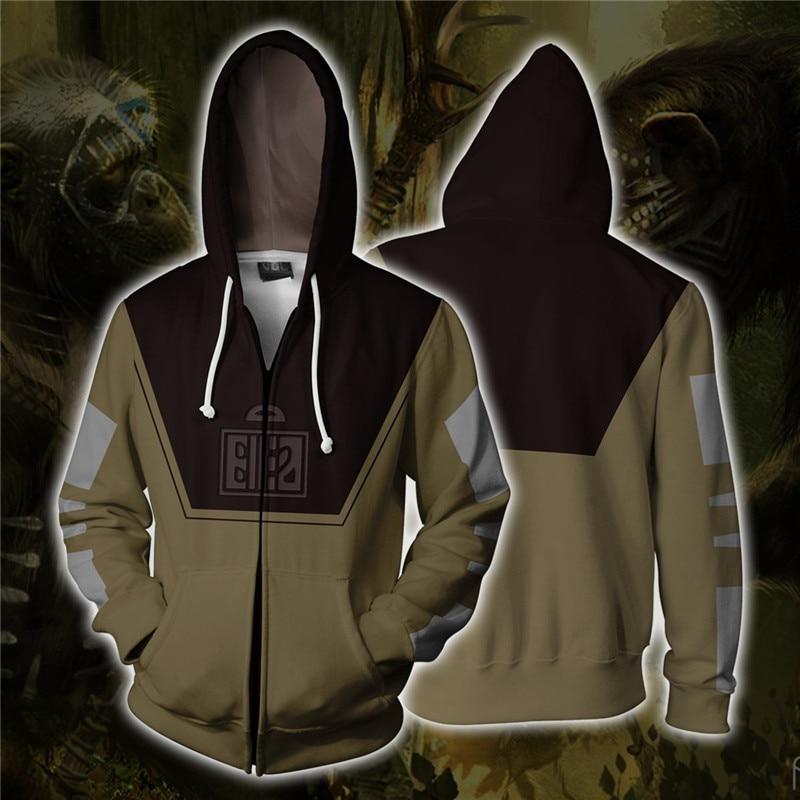 Human 3D Print Cosplay Costume Men's Sweatshirt Hooded Uniform Streetwear Hoodies Zipper Hoddies Jacket