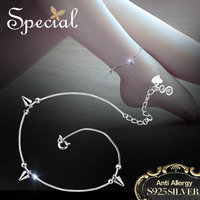 Special Brand Fashion 925 Sterling Silver Anklets Foot Accessories Geometry Ankle Bracelets Foot Jewelry Gifts for Women S1702A