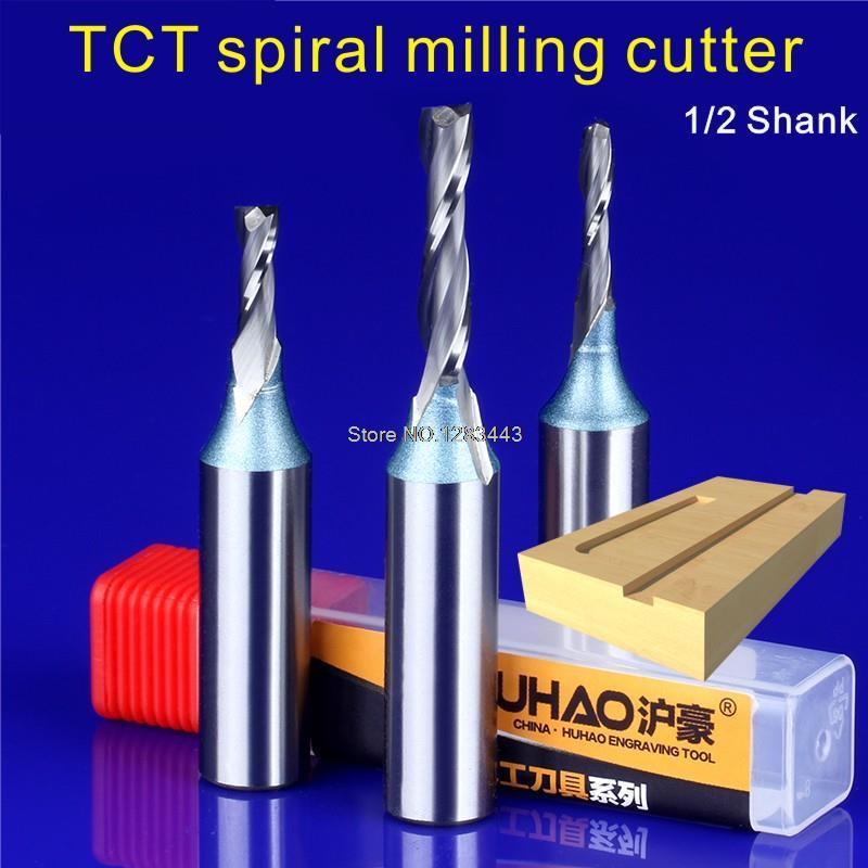 1PC 1/2*4*10MM TCT Spiral milling cutter for engraving machine Woodworking Tools millings Straight knife cutter 5934  1pc 1 2 6 15mm tct spiral milling cutter for engraving machine woodworking tools millings straight knife cutter 5912