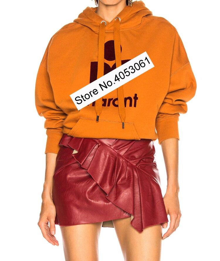 Orange Yellow Green Sky Blue Letter Cotton Hooded Hoodie Plus Velvet Casual Sweatshirt 2019ss Women Ladies
