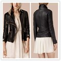 2017 Spring New Brand Pu Women Leather Jacket Long Sleeve Turn Down Collar Zipper Pockets Slim Faux Leather Jackets LQ396