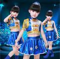 New Girls Sequins Jazz Dance Dress 2 Pcs Suit for Boys Girls Dancewear Children Performance Clothing 2 Color