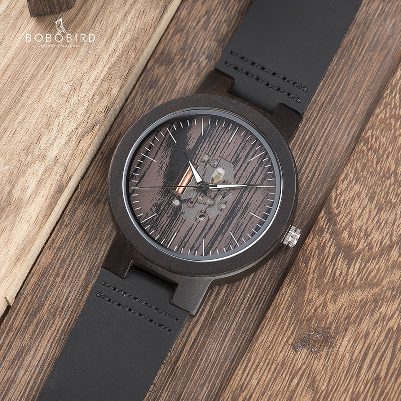 BOBO BIRD Wooden Watches For Men Casual Watch Black Cowhide Leather Strap With Wooden Box Father