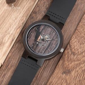 Image 5 - BOBO BIRD drewniane zegarki dla mężczyzn Casual kwarcowy zegarek męski часы мужские czarny skórzany pasek ze skóry wołowej z drewnianym pudełku Dropship
