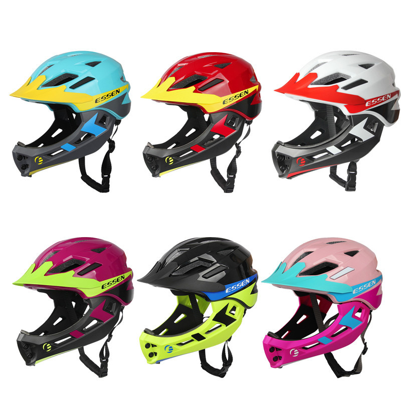 ESSEN 2 In 1 Kids Bicycle Helmet Full Face Cover for Bike Motorcycle Child Safety Cap Sport Protective Gear Cycling