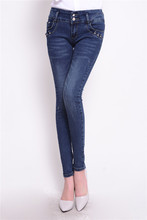 New fashion brand women skinny pencil jeans denim elastic pants washing color good quality woman casual