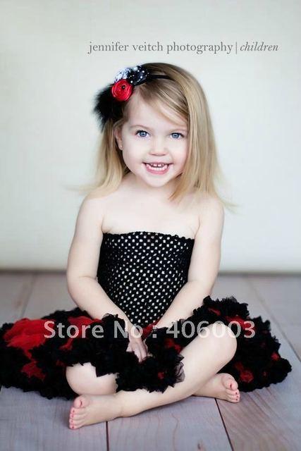 Envío gratis rojo con negro pettiskirts mullidos del bebé del tutú de la falda