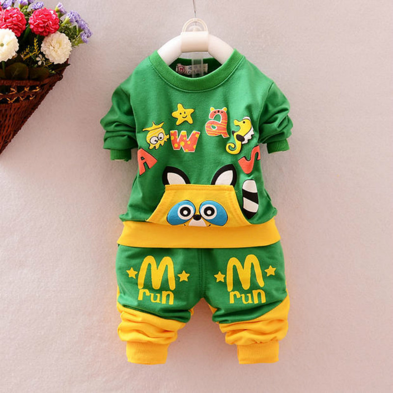 Spring Autumn baby girls boys unisex suit t shirt+pants 2pcs set's cotton long sleeved children garment Sports kids clothing