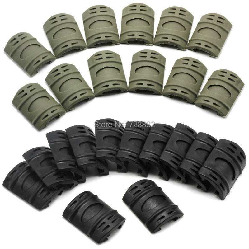 12pcs Hand Guard Quad Rail Covers Rubber Tactical Rifle Weaver Picatinny