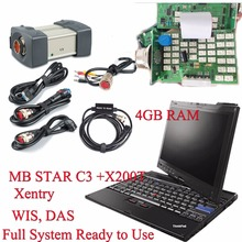 Professional MB Star C3 Diagnostic Multiplexer MB C3 Star Diagnosis Tool + Laptop X200t With Software HDD Installed