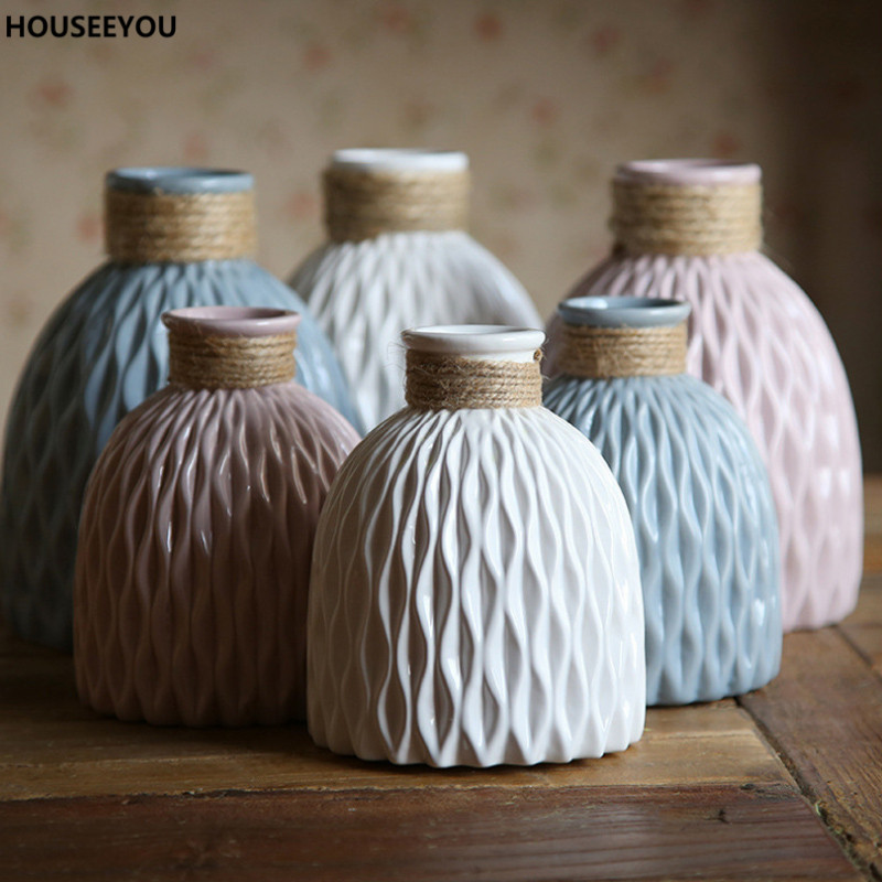 Modern Round Ceramic Vase 3 Colors Handcrafts Porcelain Flower Vase Home Furnishings Desktop