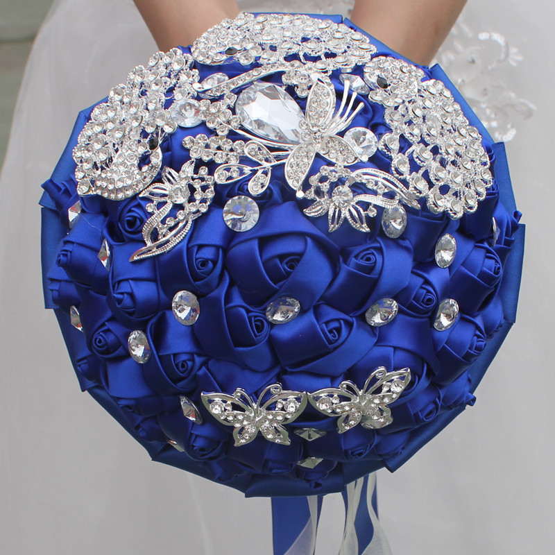 Wine Red Rose Flowers Luxry Brooch Bridal Bouquets Crystal Silk Marriage Wedding Bouquets W290