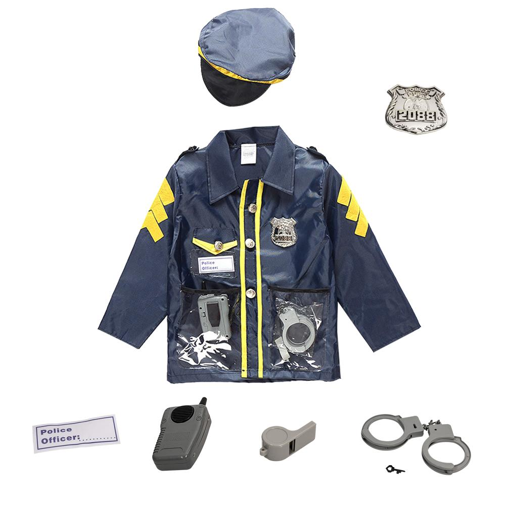 <font><b>Police</b></font> Suit For Chlidren's Policeman Cosplay Costume Policeman Costume With Durable Case <font><b>Police</b></font> Officer Costume For Kids image
