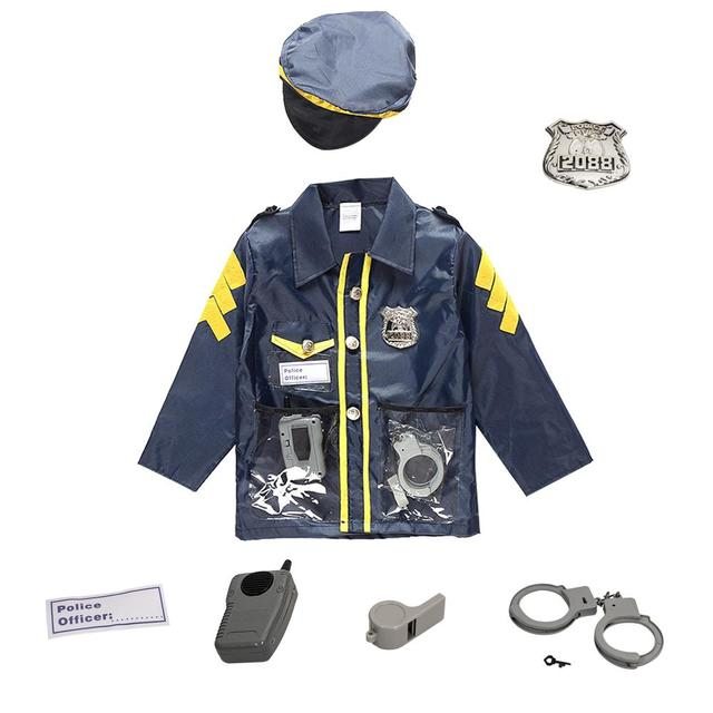 Police Suit For Chlidren's Policeman Cosplay Costume Policeman Costume With Durable Case Police Officer Costume For Kids