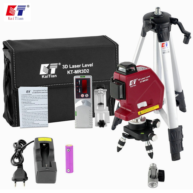 Kaitian Laser Levels 12 Lines 3D2 Self-Leveling 360 Rotary Outdoor Tripode Nivel Laser Cross Super Powerful 635nm Livello Lasers