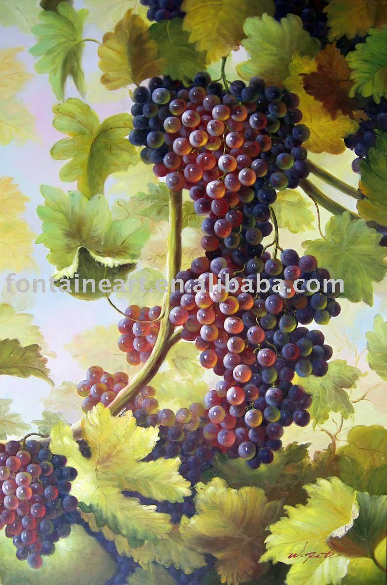 91262021607 Handpainted Purple Grapes Vine Wine Country Vineyard landscape Oil Painting