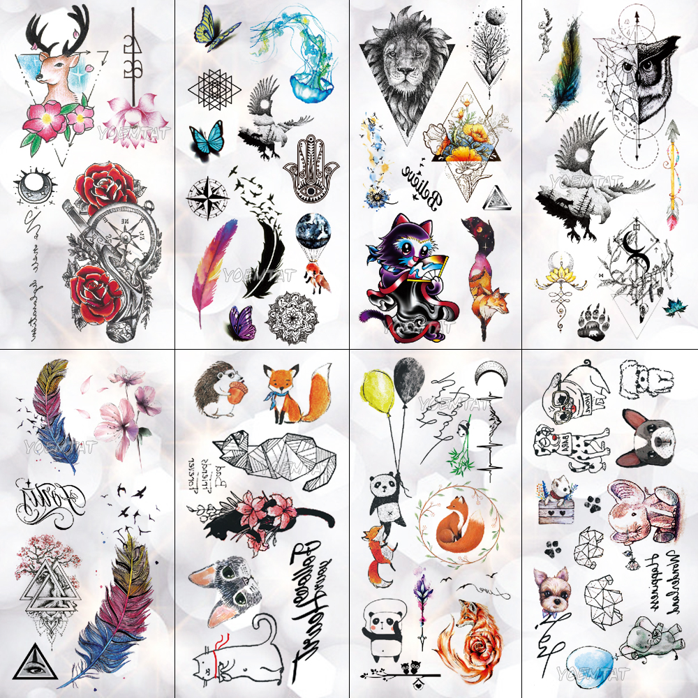 Panda Lion Little Animal Waterproof Temporary Tattoo Sticker Cute Cat Elephant Flash Tattoos Body Art Fake Arm Tatoo Women