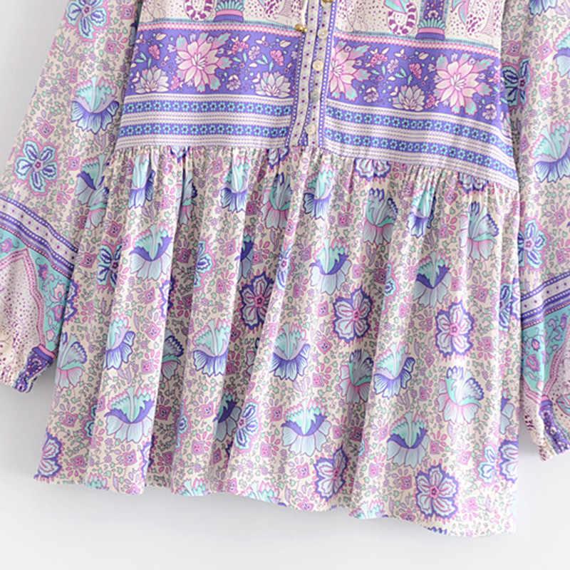 Boho шикарные летние топы винтажный цветочный принт плиссированные блузки для женщин 2019 Мода О образным вырезом пляжный костюм с длинным рукавом рубашки Blusas Mujer