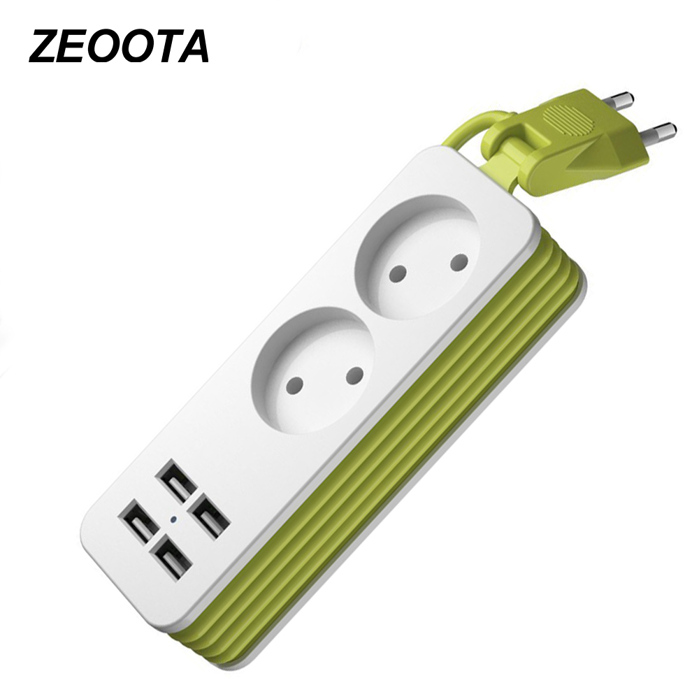Power Strip 1/2 EU Plug 1200W 250V,1.5m Cable,Wall Multiple Socket Portable 4 USB Port for Mobile Phones for Smartphones Tablets hoco c6a cool journey dual usb charging wall adapter cable winder for phones and tablets yellow