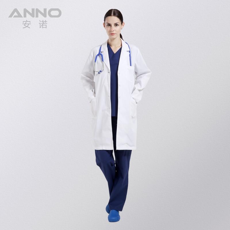 White Medical Lab Coat Clothing Plus size Long Nurse Doctors Coat Women Man  Dental Disposable Cotton